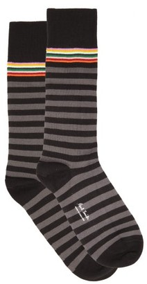 Paul Smith Pack Of Two Striped Cotton-blend Socks - Black Multi