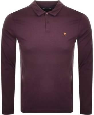 Farah Long Sleeved Polo T Shirt Purple