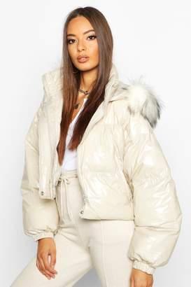 boohoo Crop Vinyl Faux Fur Trim Puffer Jacket