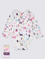 Marks and Spencer 5 Pack Pure Cotton Fox & Owl Bodysuits