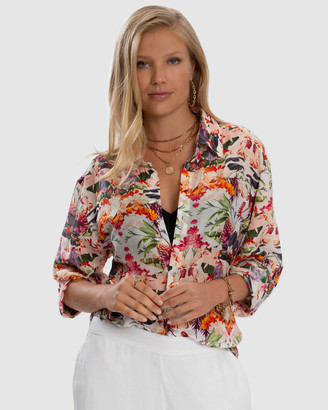 Aqua Blu Australia - Women's Pink Long Sleeve Shirts - Delilah Resort Shirt - Size One Size, M at The Iconic