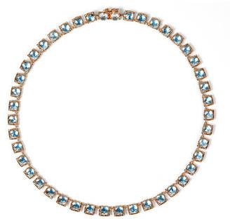 Larkspur & Hawk Bella Mini 18K Rose Gold-Washed Button Riviere Necklace, Sky Blue