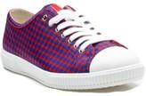 Prada Men's Flat Lace Up Sneaker Shoes Pokka Dots Rosso