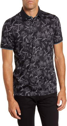 Ted Baker Slim Fit Linear Floral Print Polo