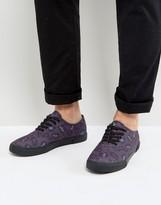 Asos Lace Up Plimsolls In Purple Leopard Print