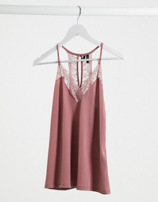 Vero Moda lace trim cami top in pink