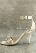 Betsey Johnson Blue by Gina Champagne Satin Ankle Strap Heels