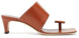 STAUD Luca Button Toe-post Leather Sandals - Womens - Tan