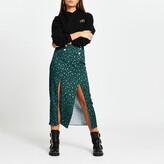 Thumbnail for your product : River Island Womens Blue animal print double split midi skirt