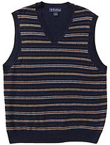 Brooks Brothers Fair Isle Striped V-Neck Sweater Vest