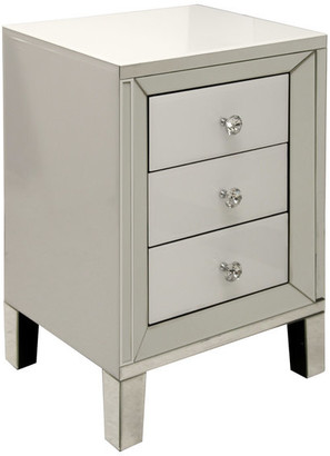 Stylecraft Home Collection 3 Drawer Cabinet With Diamond Crystal Pulls, White