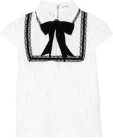 Alice + Olivia Vanetta Silk-chiffon And Velvet-trimmed Cotton-blend Lace Blouse - White