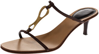 Gucci Brown Leather T-Strap Sandals Size 40.5