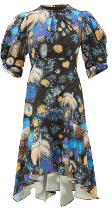 Peter Pilotto Fireworks-print Cloque Dress - Black Blue