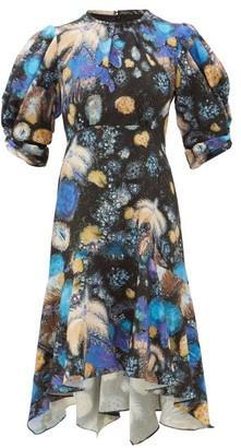 Peter Pilotto Fireworks-print Cloque Dress - Womens - Black Blue