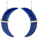 Andrea Fohrman Crescent Moon 14-karat Gold, Lapis And Diamond Earrings - Blue