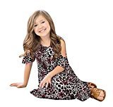 AMA(TM) Toddler Kids Girls Leopard Print Off Shoulder Party Dress Summer Bohemian Dresses (5T, Coffee)