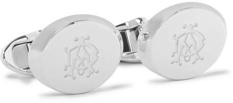 Dunhill Ad Ellipse Engraved Silver-Tone Cufflinks