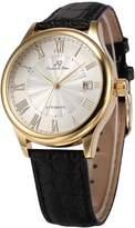 K&S KS KS241 Men's Automatic Mechanical Watch Analog Date Display Black Leather Band