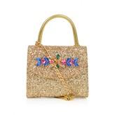 Miss Blumarine Gold Glitter Bag With Gems