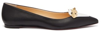 Christian Louboutin Miss Constella Studded Point-toe Leather Flats - Black