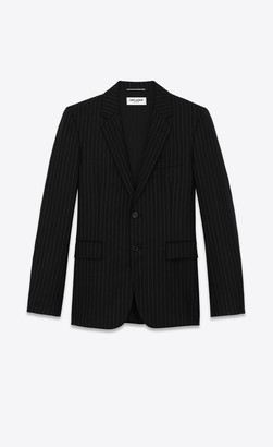 Saint Laurent Blazer Jacket Flannel Jacket With Rive Gauche Stripes Black And White 34