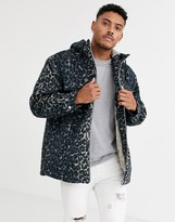 Asos Design DESIGN wool mix jacket in leopard print with fur lining