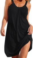 LAPAYA Women's Beach Cover Up Plain Sleeveless Stretcy Tunic Summer Casual Dress