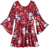 Sequin Hearts Bell-Sleeve Floral-Print Peasant Dress, Big Girls (7-16)