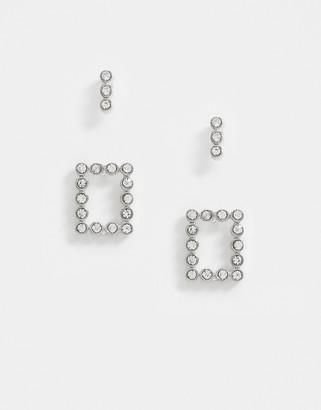 Pieces 2 pack rhinestone stud earrings in silver