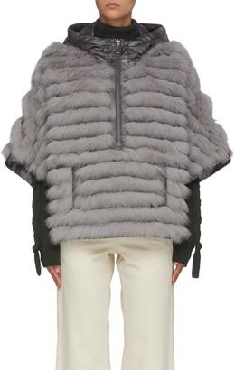 Gemmi Reversible fox fur oversized hooded poncho