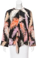 Emilio Pucci Feather Printed Silk Blouse w/ Tags