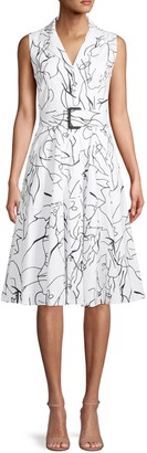 T Tahari Abstract-Print Belted Shirtdress
