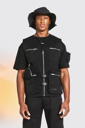 boohoo Mens Black Utility Vest With Circle Bag, Black