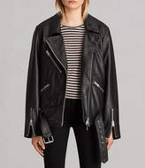 AllSaints Oversized Leather Biker Jacket