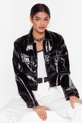 Nasty Gal Womens Stitch an Idea Vinyl Cropped Jacket - black - S