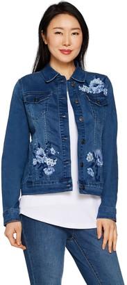Martha Stewart Floral Embroidered Denim Jean Jacket