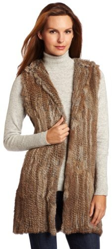 525 America Women's Long Rabbit Fur Vest with Hood