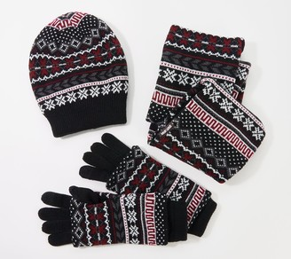 Muk Luks Women's Reversible Hat Scarf and 3-in-1 Glove Set