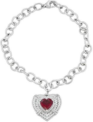 Sterling Silver Gemstone & 1/10 Carat T.W. Diamond Bracelet