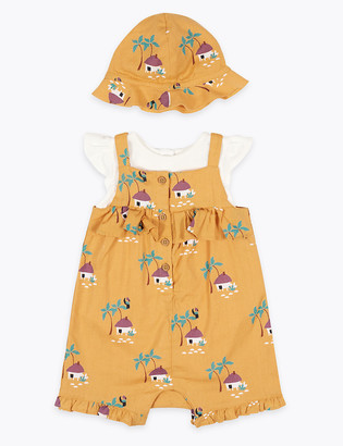 Marks and Spencer 3 Piece Cotton Romper Set (0-3 Yrs)