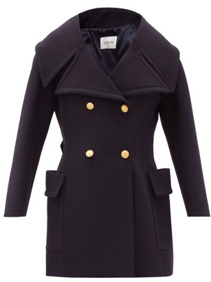 Valentino Exaggerated-lapels Double-breasted Wool Peacoat - Navy