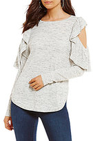 GB Cold Shoulder Ruffle Sweater