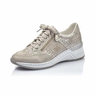 Rieker Women Lace-Up Flats N4327 Ladies Trainer Sneaker Low Shoe Laced Shoe Street Shoe Laces Casual Shoe Wedge Sneaker Wedge Heel