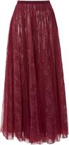 Georges Hobeika Embroidered Tulle Midi Skirt
