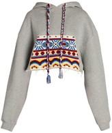 Alanui Knit Pocket Cotton & Cashmere Cropped Hoodie