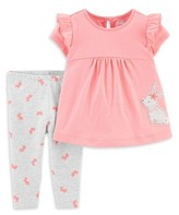 Carter's Child Of Mine By Child of Mine by Baby Girl Short Sleeve Shirt & Pant Outfit, 2pc Set