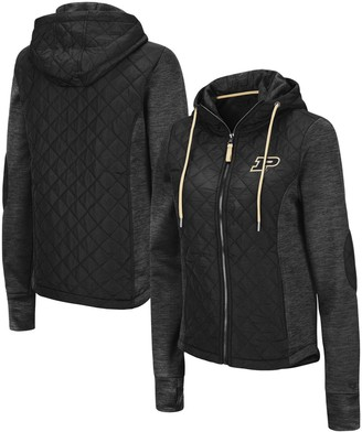 Colosseum Women's Black Purdue Boilermakers Kitty Hybrid Full-Zip Jacket