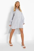 boohoo Stripe Super Oversized Shirt Dress