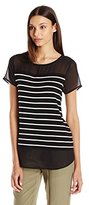 Vince Camuto Women's S/s Quarry Stripe Mix Media Top
